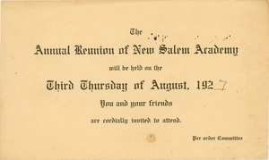 Invitation for Marshall Brown for the fifty-fourth annual New Salem Academy reunion