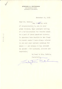Letter from Stephen Fritchman to W. E. B. Du Bois