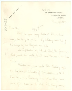 Letter from Ruth Anna Fisher to W. E. B. Du Bois