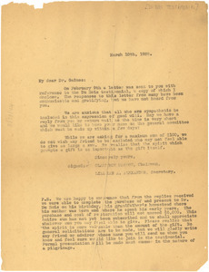 Circular letter from Du Bois Testimonial Committee to Jonathan Gaines