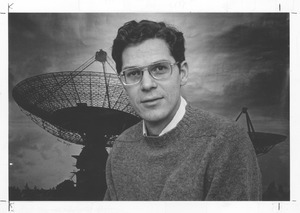 Joseph H. Taylor, UMass Amherst Professor of Physics and Astronomy, in front of a giant radio telescope