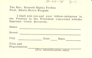 Reply card from unidentified correspondent to Kenneth Ripley Forbes and Edwin Berry Burgum