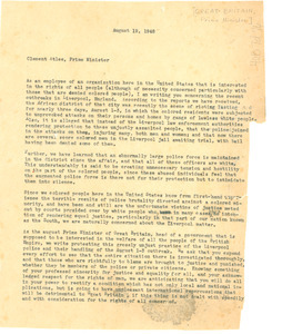 Letter from unidentified correspondent to Clement Attlee