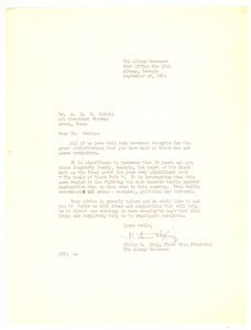 Letter from Albany Movement (Albany, Ga.) to W. E. B. Du Bois
