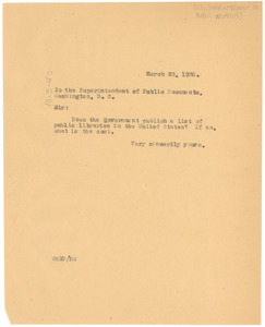Letter from W. E. B. Du Bois to the Superintendent of Public Documents