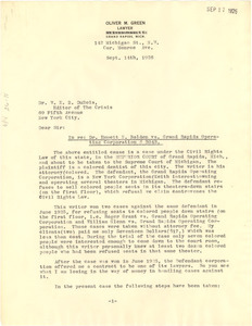 Letter from Oliver M. Green to W. E. B. Du Bois