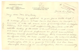 Letter from Lucy M. Salmon