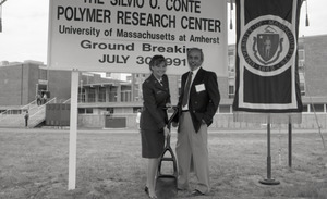 Ceremonial groundbreaking for the Conte Center: unidentified woman in army uniform and man at groundbreaking