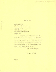 Letter from W. E. B. Du Bois to Communist Party of Los Angeles County