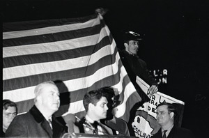 Young Americans for Freedom pro-Vietnam War demonstration, Boston Common: Dapper O'Neil speaking in front of American flag