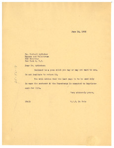 Letter from W. E. B. Du Bois to Masses and Mainstream