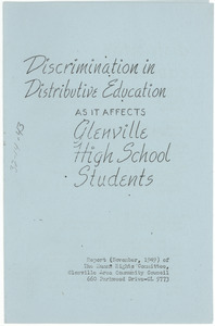 Discrimination in distributive education as it affects Glenville high school students