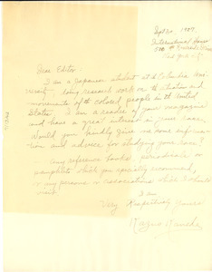 Letter from Kazuo Kaneda to the editor of The Crisis