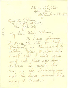 Letter from Helen A. Taylor to M. G. Allison