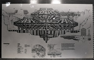 Architectural sketch of Babel city by Paolo Soleri