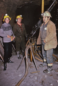 Diana Mara Henry with two miners