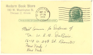 Postcard from Al Rubio to National Committee to Defend Dr. W. E. B. Du Bois and Associates in the Peace Information Center