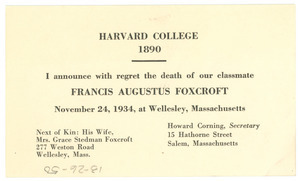 Announcement of the death of Francis Augustus Foxcroft