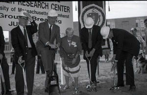 Ceremonial groundbreaking for the Conte Center: Gov. William Weld and Corrine Conte (both at center) laying first shovel to dirt