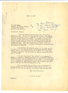 Letter from W. E. B. Du Bois to Council on African Affairs
