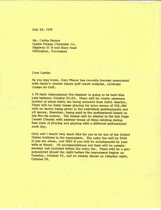 Letter from Mark H. McCormack to Curtis Person