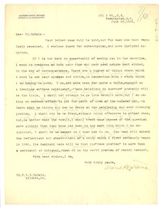 Letter from Alfred Holt Stone to W. E. B. Du Bois