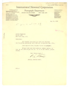 Letter from International Newsreel Corporation to Crisis