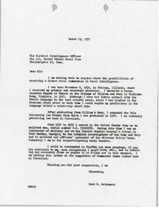 Letter from Mark H. McCormack to District Intelligence Office