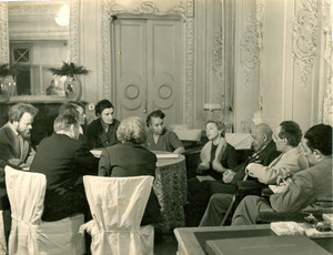 W. E. B. Du Bois, Shirley Graham Du Bois, and others at conference in Leningrad