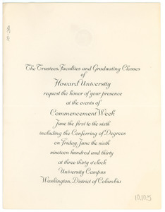 1930 Howard University Commencement invitation