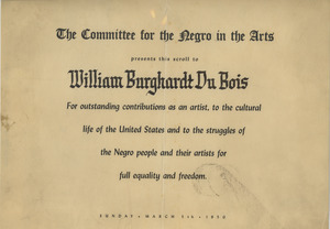 Award from Committee for the Negro in the Arts to W. E. B. Du Bois