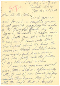 Letter from A. C. Tebeau to W. E. B. Du Bois
