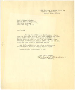 Letter from Helen H. Waters to W. E. B. Du Bois