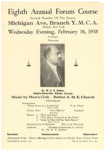 Advertisement for lecture given to Young Men's Christian Association