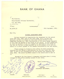Letter from Bank of Ghana to Director of the Encylopedia Africana