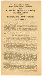 The hundred and sixteen Nonpartisan League members of the sixteenth legislative assembly of North Dakota to the farmers and other workers of America