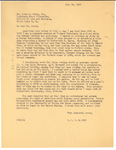 Letter from W. E. B. Du Bois to Louis D. Rubin, Jr.