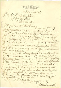 Letter from J. A. Somerville to W. E. B. Du Bois