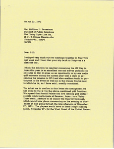 Letter from Mark H. McCormack to William L. Savestrom