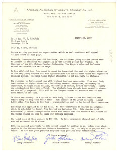 Letter from African-American Students Foundation to W. E. B. Du Bois
