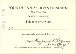 Fourth Pan African Congress delegate blank