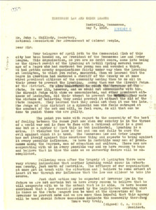 Letter from Law and Order League (Nashville, Tenn.) to NAACP