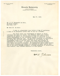 Letter from Lincoln University to W. E. B. Du Bois
