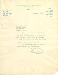 Letter from American Fund for Public Service to W. E. B. Du Bois