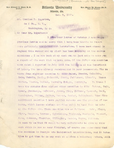 Letter from W. E. B. Du Bois to the United States Census Office [fragment]