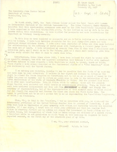 Letter from W. E. B. Du Bois to United States Department of State