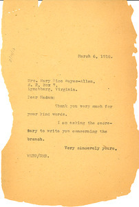 Letter from W. E. B. Du Bois to Mary Rice Hayes-Allen