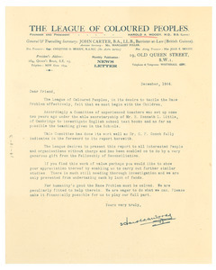 Circular letter from League of Coloured Peoples to W. E. B. Du Bois