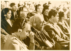 W. E. B. Du Bois and Shirley Graham Du Bois in audience at conference in Soviet Union