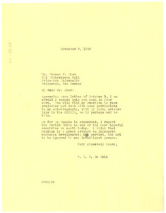 Letter from W. E. B. Du Bois to Thomas F. Shaw